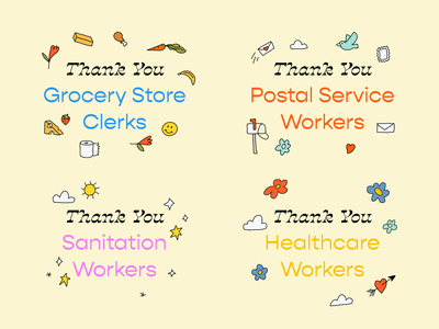 Thank You leahschmidt shopping store grocery mail postal service post sanitation healthcare virus corona covid19 food typography font leah schmidt leahschm illustration drawing doodles