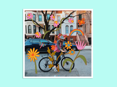 Spring Doodles woman joy happy floral flowers florals spring bicycle bike girl color leahschmidt leah schmidt leahschm art line drawing design illustration illustrator