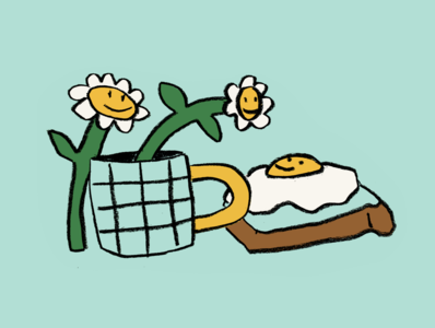 Breakfast leahschmidt illustration leah schmidt leahschm drawing good morning morning tea mug coffee cook food nature flower sunny sunny side up egg happy breakfast