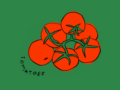 Tomatoes leahschmidt design illustration organic yummy drawing leah schmidt leahschm grocery cook snack healthy green food fruit vegetable tomato tomatoes