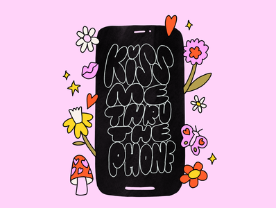 Kiss Me Thru The Phone long distance dating date kiss iphone x leah schmidt pretty cute spring text flirt leahschm drawing love covid19 covid corona cell phone iphone