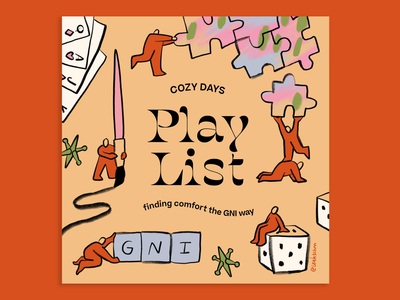 Leah Schmidt for Girls' Night In: Cozy Days drawing color illustration fun night in home craft paint dice games puzzle 2020 christmas holiday cozy leah schmidt leahschm gni girlsnightin