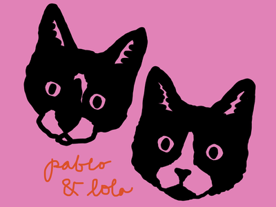 Pablo and Lola drawing graphic design ipad procreate art design illustration graphic animals pets tuxedo leahschmidt leah schmidt leahschm kitty kitten cat kittens cats