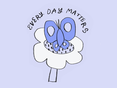 Every Day Matters logo summer sketch spring life butterfly 90s flowers leahschmidt color leah schmidt drawing design illustration leahschm