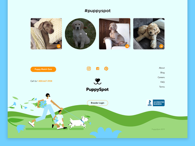 Puppyspot website design + illustration - Footer vector website design web design branding leah schmidt footer product leahschm spot illustration illustration website dog puppy