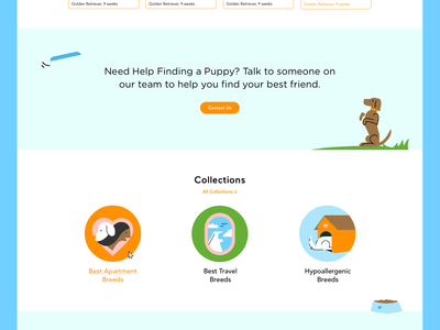 Puppyspot website design + illustration - Collections dog illustration product website design website thumbnail spot illustration puppy dog branding graphic leah schmidt leahschm design illustration