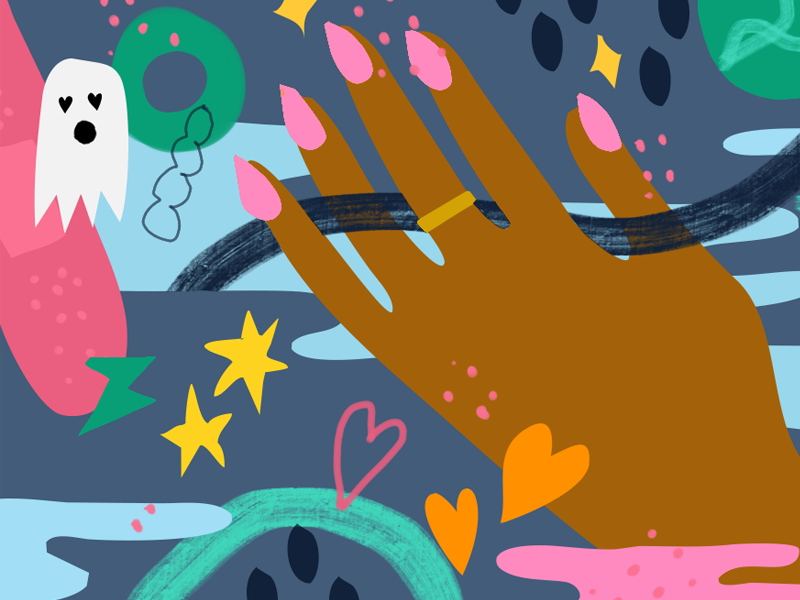 Glamour love blog banner hand illustration glamour
