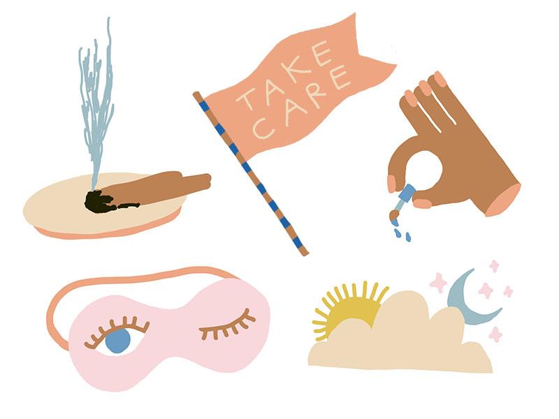 Stickers self care sky flag dream nails spa mask eye girls