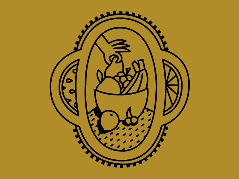 Fruit Sticker design hand food icon logo line vector stamp emblem branding illustration sticker fruit
