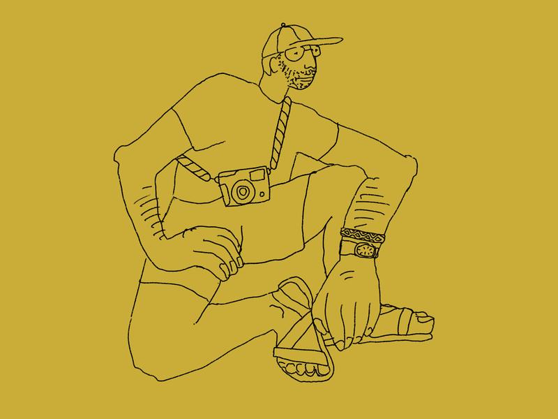 Gabe Sits on a Rock fashion hat person camera guy man boy art drawing line illustration