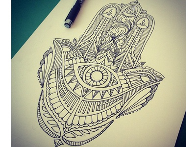 Hamsa hamsa design illustration linework line work henna hand art craftsmanship pen ink drawing doodle draw leah schmidt