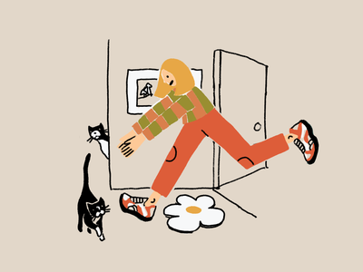 When I Get Home leahschmidt leah schmidt leahschm graphic color line art drawing design illustration person cat kittens cats