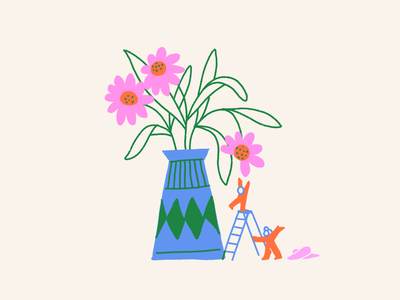 Gatherers goal reach climb people home apartment vase flower flowers ink leahschmidt leah schmidt leahschm graphic color line art drawing design illustration