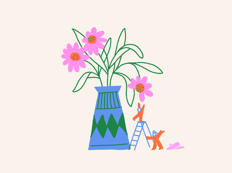 Gatherers goal reach climb people home apartment vase flower flowers ink leahschmidt leah schmidt leahschm graphic color line art drawing design illustration