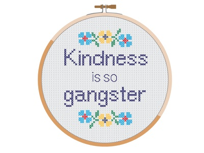 Kindness is so Gangster flowers needlepoint illustration