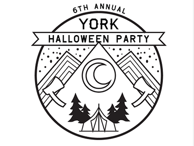 Halloween line art brand illustration logo