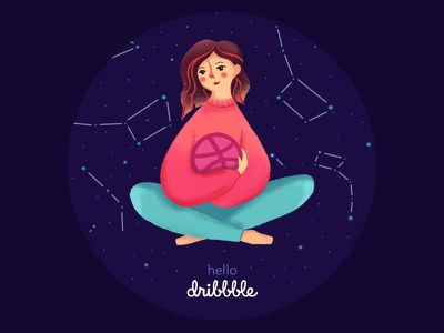 Hello Dribbble! star constellations dreams space girl dribbble