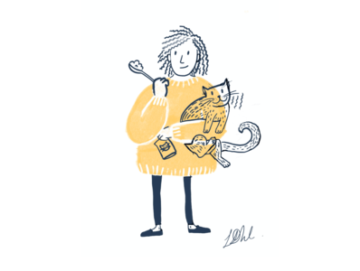 Hello Dribbble! It's dinner time! texture jersey food doodle drawing cat procreate design illustration