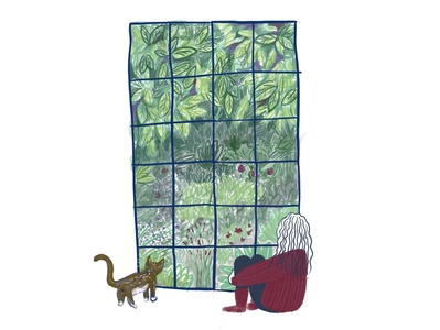 New Home view from my window :) SO MANY PLANTS! drawing texture procreate jersey illustration doodle plants cat window