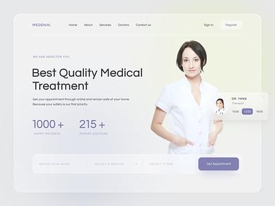 Medical website concept health doctor ui web glassmorphism healthcare hospital medicine medical landingpage