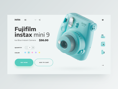 instax mini 9 card minty daily ui product card instax cart shopping e commerce adobe xd design ui