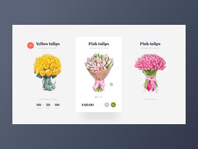 Flower Shop typography web flower cart price product card product catalog dailyui ux desktop adobe xd design ui
