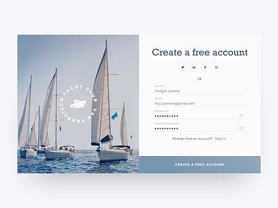 Daily UI Design Challenge #001 — Sign up clean yacht club registration form web sign up dailyui001 daily ui ux ui desktop adobe xd design