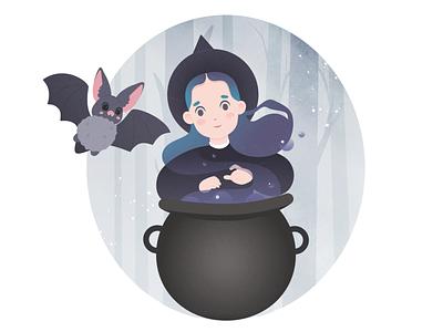 Witch girl with baby bat adobe photoshop vector design bat magic witch illustraion cartoon character adobe illustrator