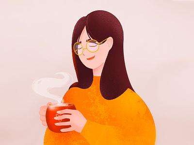 Hot tea girl cartoon character procreate illustration