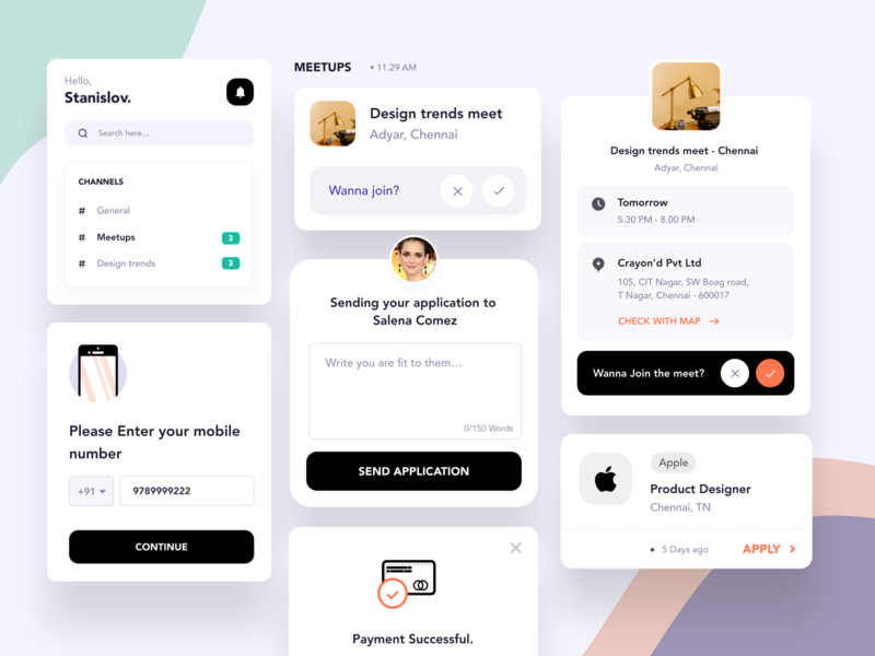 Mobile App Components motion dashboard designer meetups landing page design branding logo illustration clean ios payment events jobs channels ux design mobile app cards landing page ui
