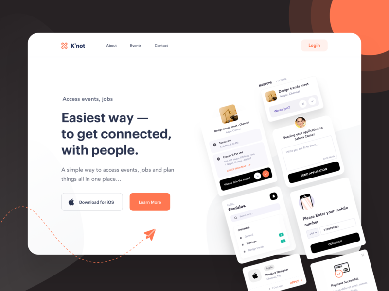 Landing page - K'not branding logo channels jobs events cards designknot mockup ios design illustration ux dashboard components app ui minimal web landing page design landing page