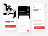 Notes+Editor App mobile app designer development cards files geometric shapes editor notes mockup clean dashboard design ios app minimal web landing page ui
