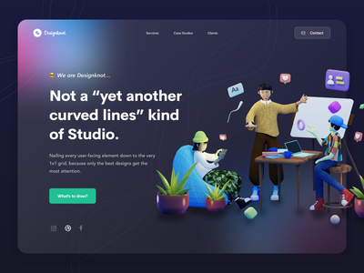 Designkot Website. 3d illustration 3d header agency landing page design studio blur transparent glassmorphism mockup clean gradient dashboard ios web minimal landing page ui design website