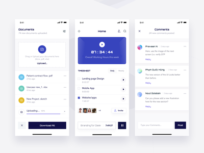 Tracker App list download upload time tracker documents comments branding typography 3d cards mockup clean gradient dashboard design minimal ios app ui