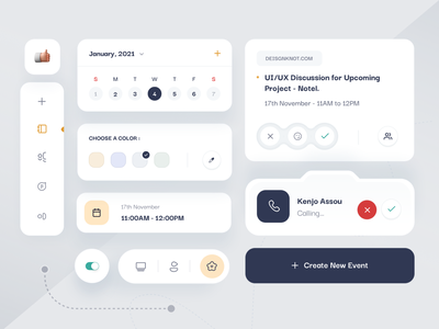 Calendar App Components 3d ui design web landing page flutter androind ios ux app minimal icons tab bar color call cards schedule calendar app design ui components