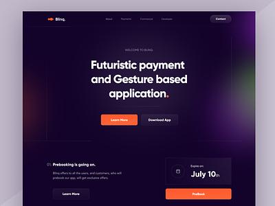 Landing Page payment crypto website dark mesh blur gradient branding ui logo illustration design app web ios minimal landing page