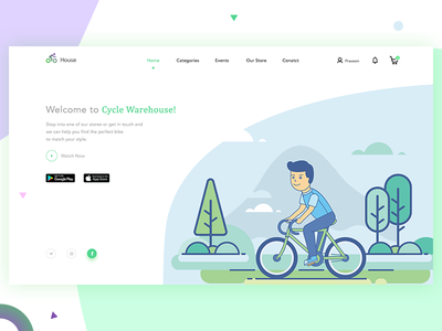 Cycle Warehouse landing page ui web illustration e-commerce trend new landing page