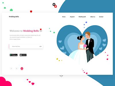 Matrimonial landing page mockup web marriage heart landing page love wedding matrimony
