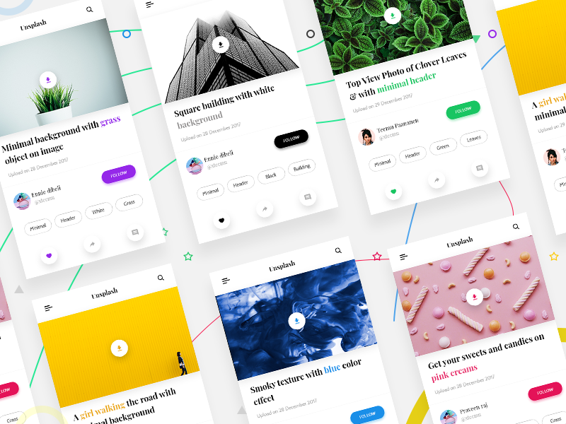 Unsplash app ui