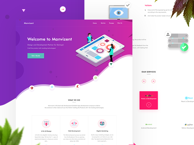 software agency Landing Page mockup gradient site ui web illustration trend new landing page