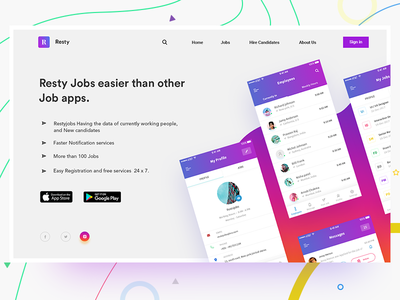 Job app Landing page search. hire candidate download gradient mockup screens web ui app job landing page