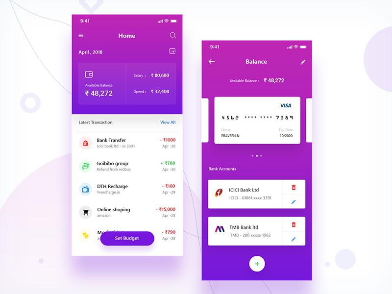 Expense Manager app (iphonex) colors budget account card balance gradient ui money finance expense manager iphonex