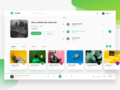 Spotify redesign spotify album volume string artist colors minimal ui web player songs music