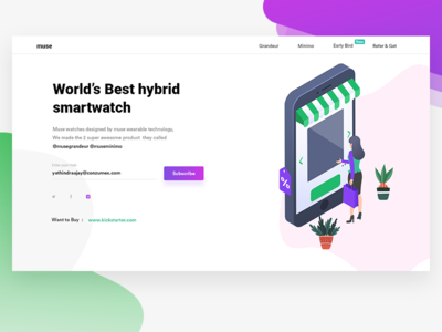 Muse hybrid smartwatch landing page ecommerce minimal ui website landing page product page wearable muse watch