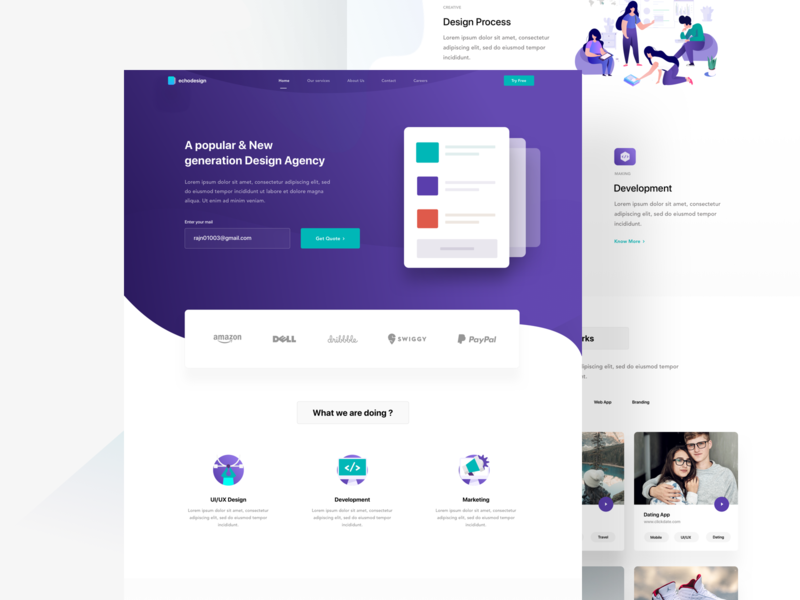 Software agency landing page dribble invite invite mockup design designers research development uiux design colors clean trend new mockup illustration gradient minimal landing page app web ui