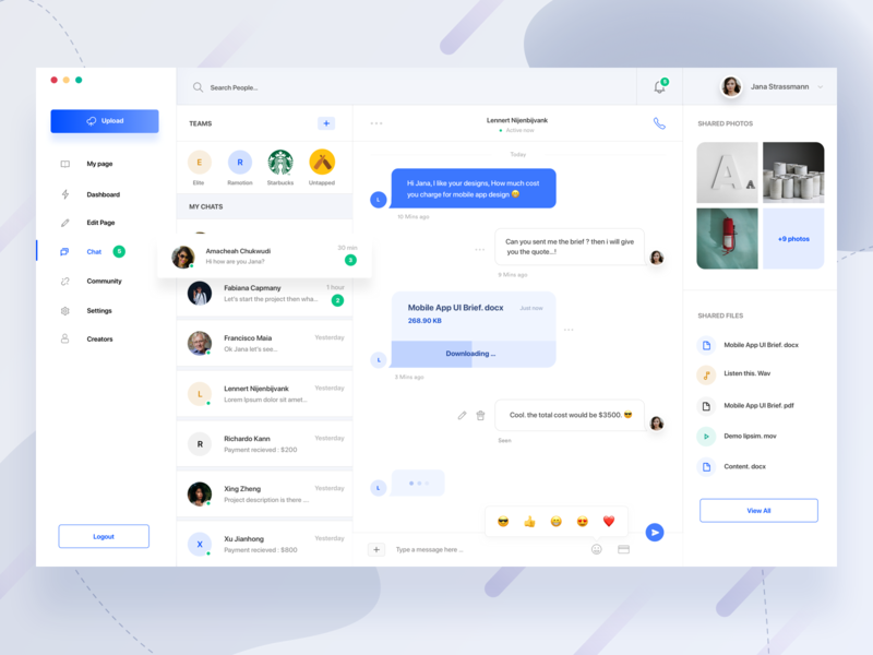 Designer Community Dashboard ( Chat ) call payment emoji documents bubble photos team messenger message chat trend design dashboard clean mockup minimal gradient landing page web ui