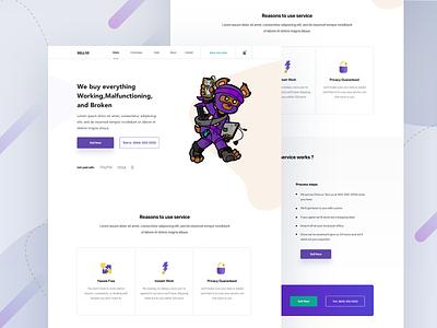 Landing page character art minimal mobile phones payment icons ux design illustration clean mockup gradient web ui landing page