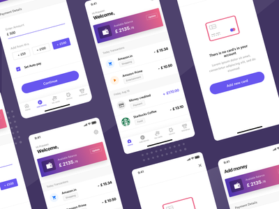 Payment app screens ios pay transactions analytics data paypal transfer paytm upi dollar money wallet payment clean design gradient app minimal landing page ui