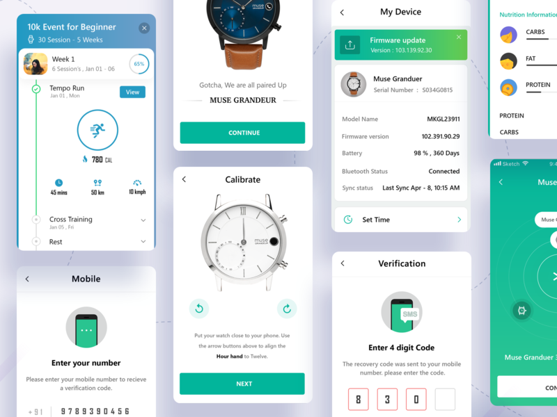 Device Pair hybrid smartwatch device pair bluetooth data fitness watch artificial intelligence museai new ux clean dashboard design ios gradient minimal app landing page ui