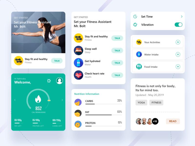 Cards UI dashboard clean design landing page cards design web ui mobile ui fitness app apps ux user sleep water yoga fitness cards ios minimal app ui